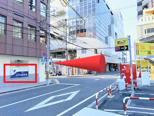 大和信用金庫の交差点を左折して駅の方に進みます